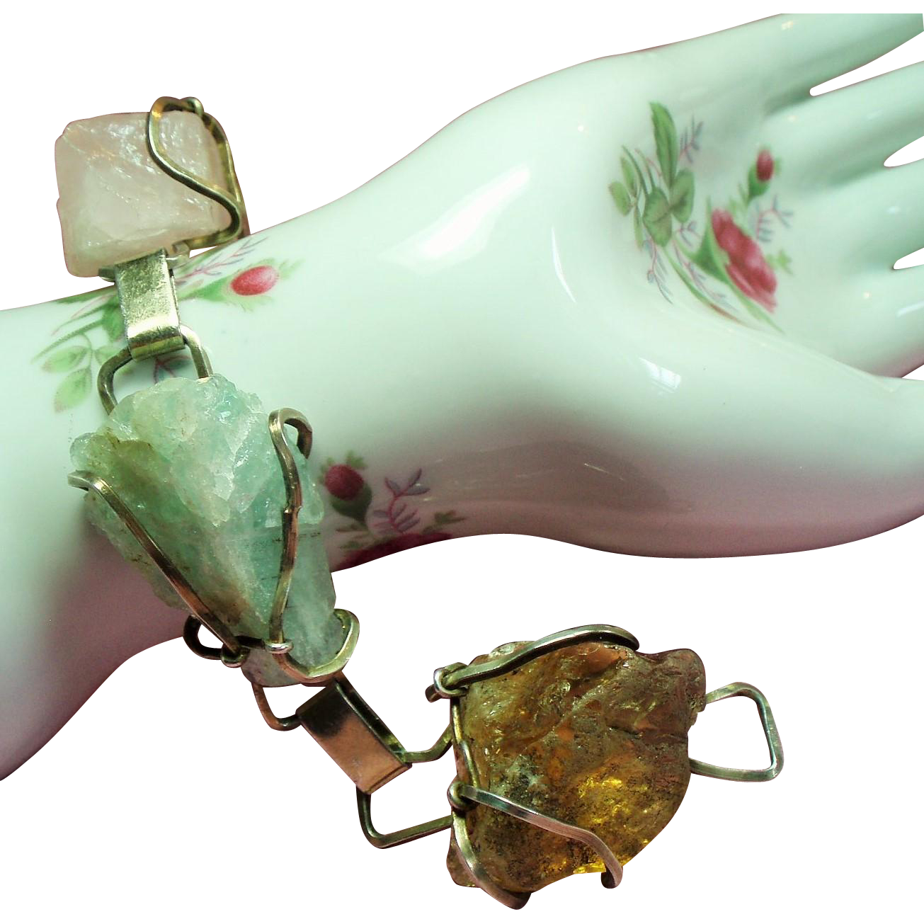 Vintage Raw Citrine Fluorite Rose Quartz Huge Rough Stone Sterling Bracelet