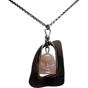 Vintage Pink Rose Quartz Mask Hand Wrought Sterling Pendant Necklace