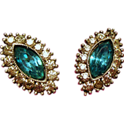 Vintage Aqua Navette Rhinestone Sterling Earrings