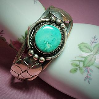 Vintage Native American Turquoise Sterling Leaf Cuff Bracelet