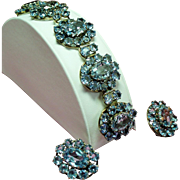 Vintage Sterling 935 Germany Faceted Synthetic Icy Blue Spinel Bracelet Earrings Set