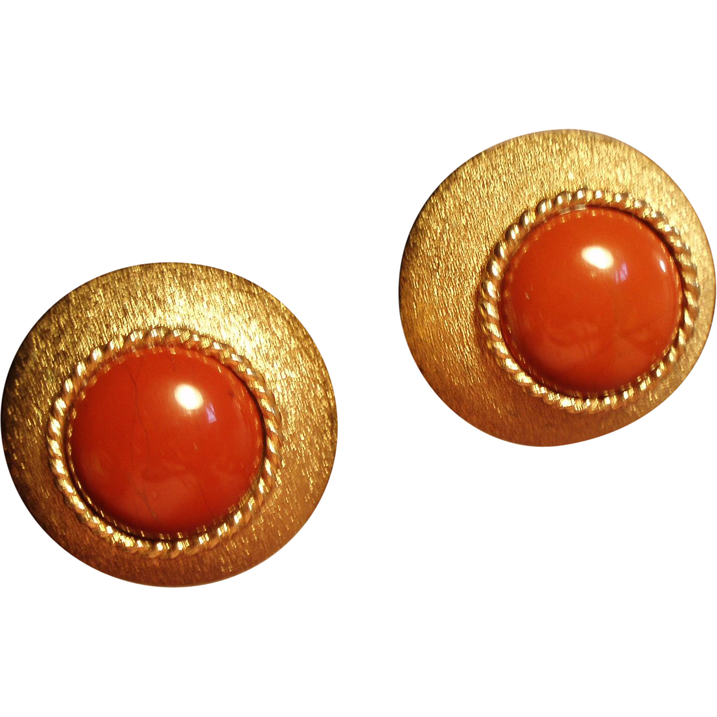 Vintage St. John Faux Carnelian Earrings