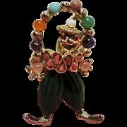 Vintage Swoboda Natural Gem Stone Juggling Clown Brooch