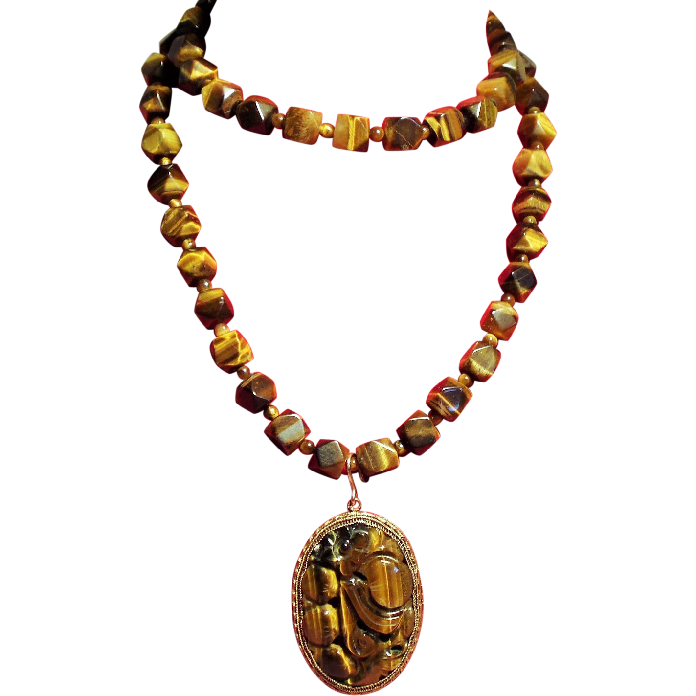 Vintage Chinese Carved Tiger Eye Pendant Faceted Bead Long Necklace