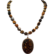 Vintage Chinese Export Carved Tiger Eye Pendant Faceted Bead Long Necklace
