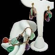 Vintage Natural Tumbled Gemstones Gold Filled Bracelet Drop Earrings Demi Parure