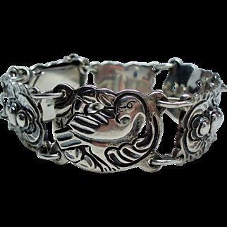 Vintage Tobias A. Mexico Sterling Repousse Bird Dove Bracelet