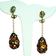 Vintage Topaz Rhinestone Disco Ball Long Teardrop Earrings