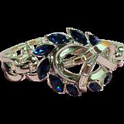 Vintage Trifari Pat Pending Sapphire Blue Navette Rhinestone Hinged Bracelet