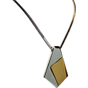 Vintage Trifari Two Tone Modernist Pendant Necklace
