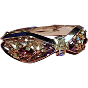 Vintage Trifari Shades Of Lilac Rhinestone Hinged Bangle Bracelet