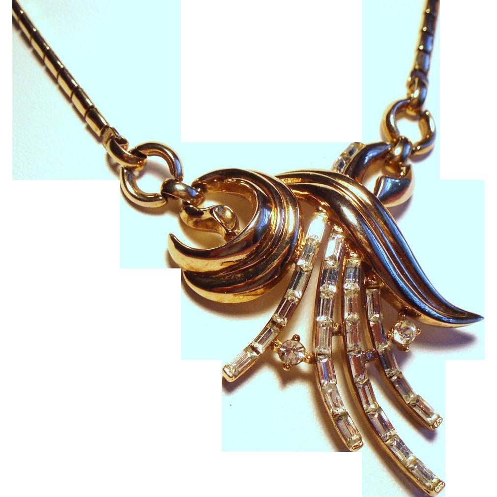 Vintage Trifari Baguette Rhinestone Spray Necklace