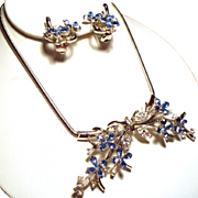 Vintage Trifari Alfred Philippe Star Flower Cornflower Blue Rhinestone Necklace Earrings Demi Parure