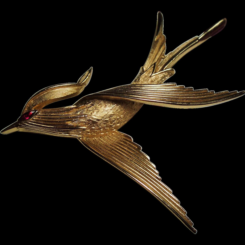 Vintage Trifari Stylized Soaring Bird Brooch