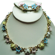 Vintage Trifari Fleurette Pastel Enamel Flowers Necklace Earrings Set