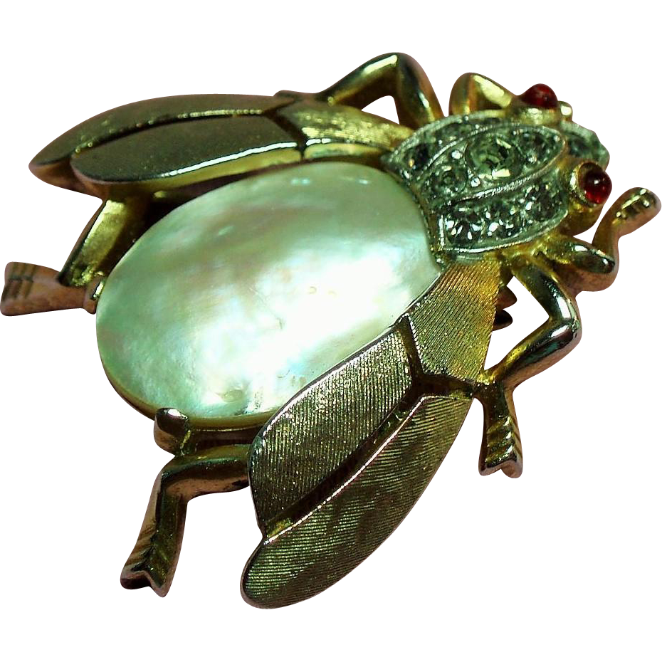 Vintage Trifari Fantasia Mother of Pearl Insect Bug Bee Brooch