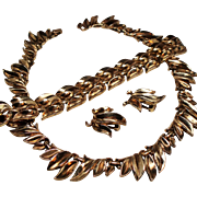Vintage Trifari Pat Pending Luxurious Leaves Necklace Bracelet Earrings Parure
