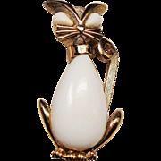 Vintage Trifari White Milk Glass Rhinestone Kitty Cat Brooch