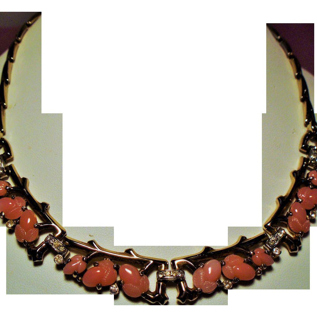 Vintage Trifari Alfred Philippe Pink Fruit Salad Rhinestone Necklace