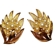 Vintage Trifari Faux Pearl Rhinestone Leaf Spray Earrings