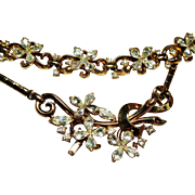 Vintage Trifari Small Star Flower Rhinestone Necklace Bracelet Demi Parure