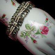 Vintage Trifari Late Art Deco Smoky Pave Rhinestone Bracelet