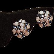 Vintage Trifari Sapphire Blue Rhinestone Cluster Earrings