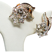 Vintage Trifari Sterling Rhinestone Cluster Spray Earrings