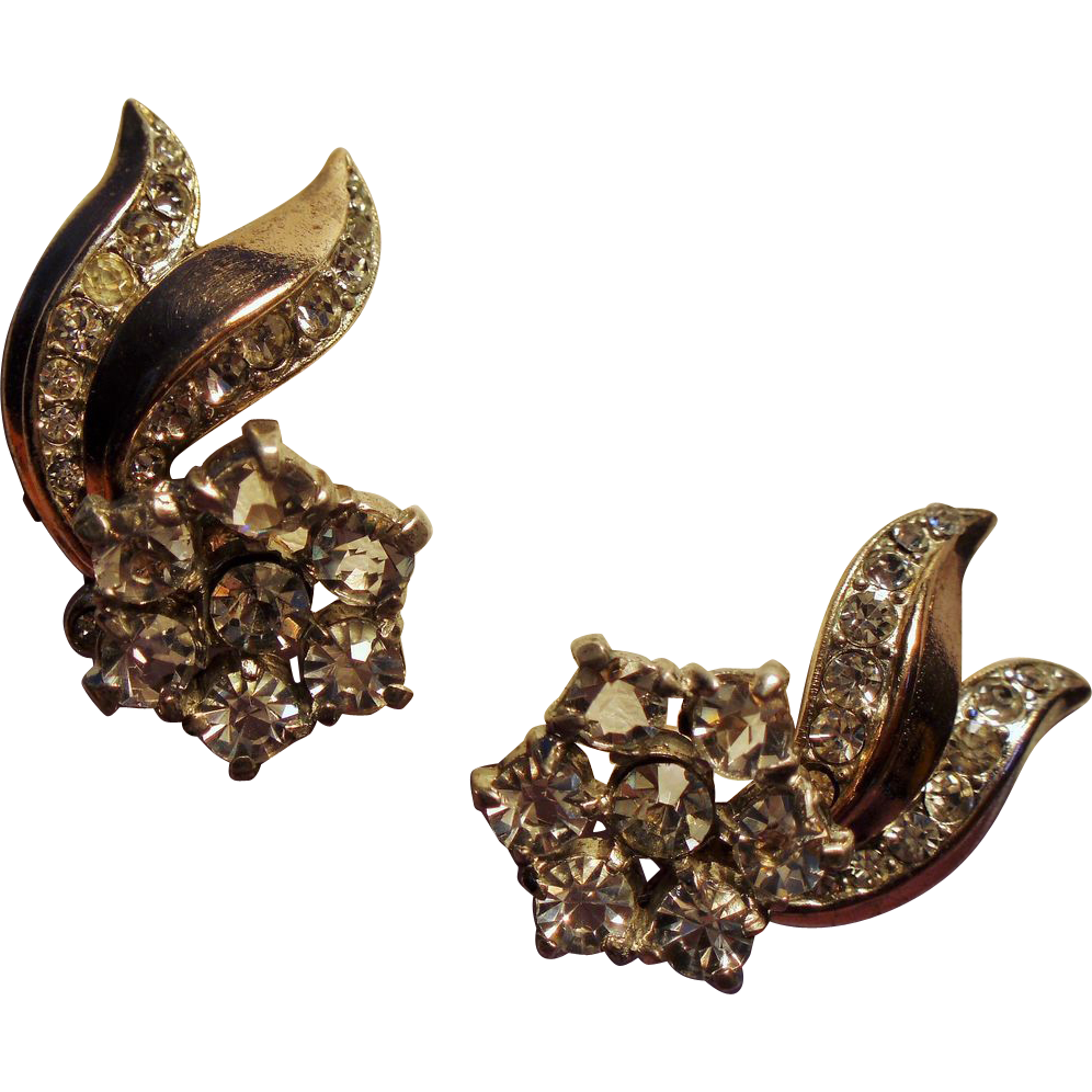 Vintage Trifari Sterling Comet Tail Rhinestone Earrings