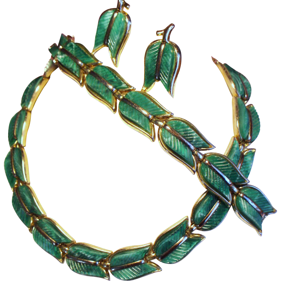 Vintage Trifari Thermoset Green Tulip Leaves Necklace Bracelet Earrings Parure