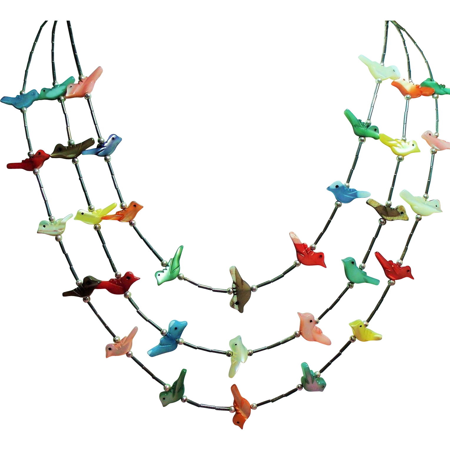 Vintage Native American Colorful Mother of Pearl Bird Fetish Liquid Silver Triple Strand Necklace