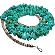 "Vintage Native American Turquoise Nugget Heishi Bead 29"" Necklace"