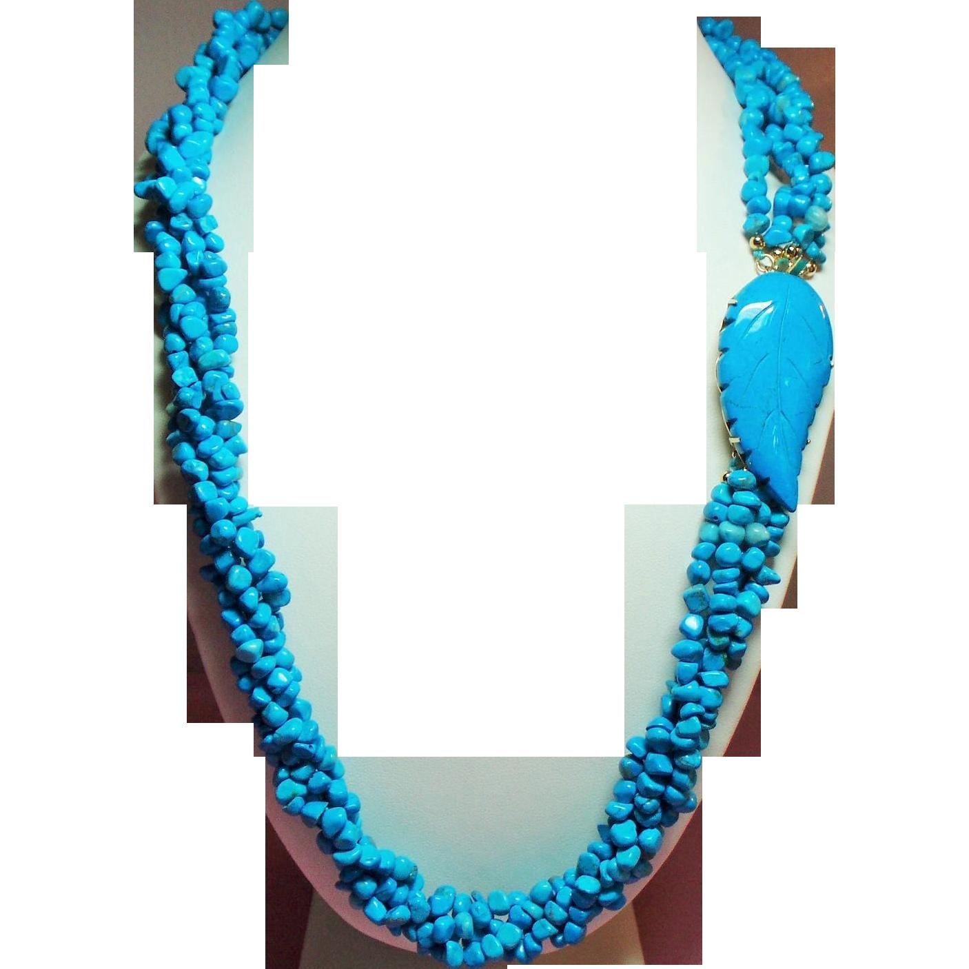 Torsade Necklace: Vintage Turquoise Nugget Torsade Necklace Leaf Side Clasp