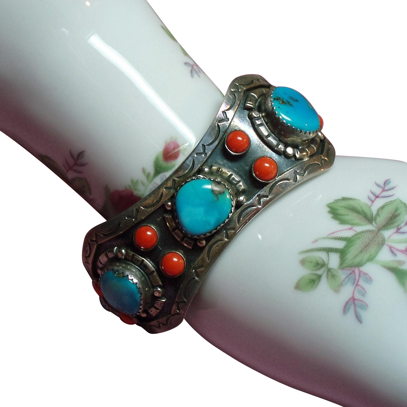 Vintage Mexico Turquoise Coral Hand Wrought Sterling Cuff Bracelet