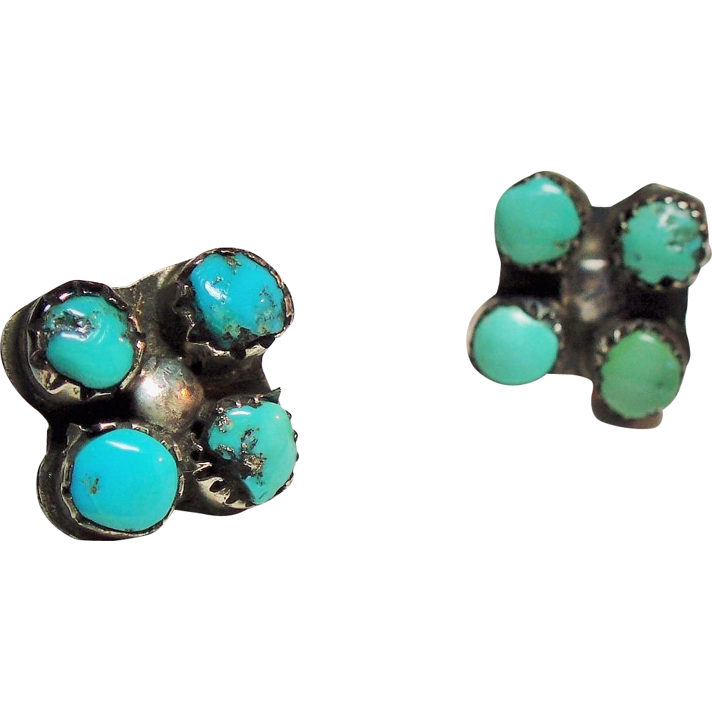 Vintage Native American Turquoise Petite Sterling Pierced Earrings