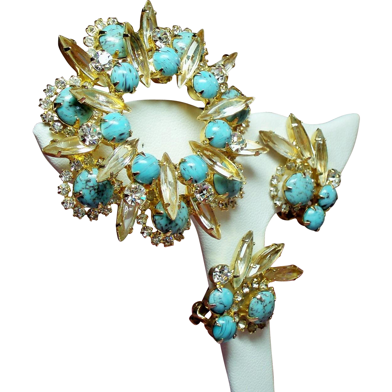 Vintage Faux Turquoise Matrix Cabochon Navette Rhinestone Tiered Brooch Earrings Set