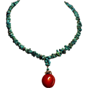 Vintage Turquoise Nugget Necklace with Coral Drop Pendant