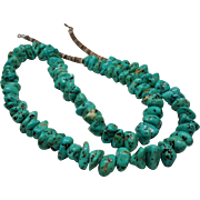 """Vintage Native American Turquoise Nugget Heishi Bead 29"""" Necklace"""
