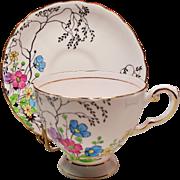 Vintage Tuscan England Bone China Pale Pink Teacup & Saucer Floral Pattern