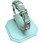 Vintage Retro Modern Baguette Diamante Hinged Bangle Bracelet