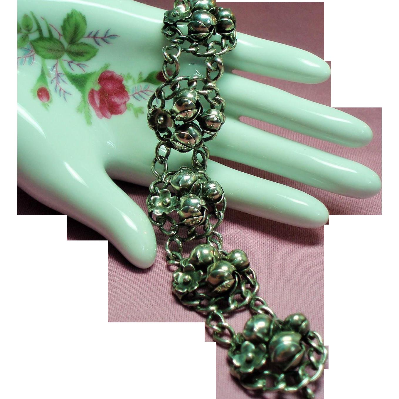 Vintage Unsigned Hobe Sterling Flower Bracelet