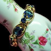 Vintage Huge Sapphire Blue Pear Open Back Stone Rhinestone Chunky Bracelet