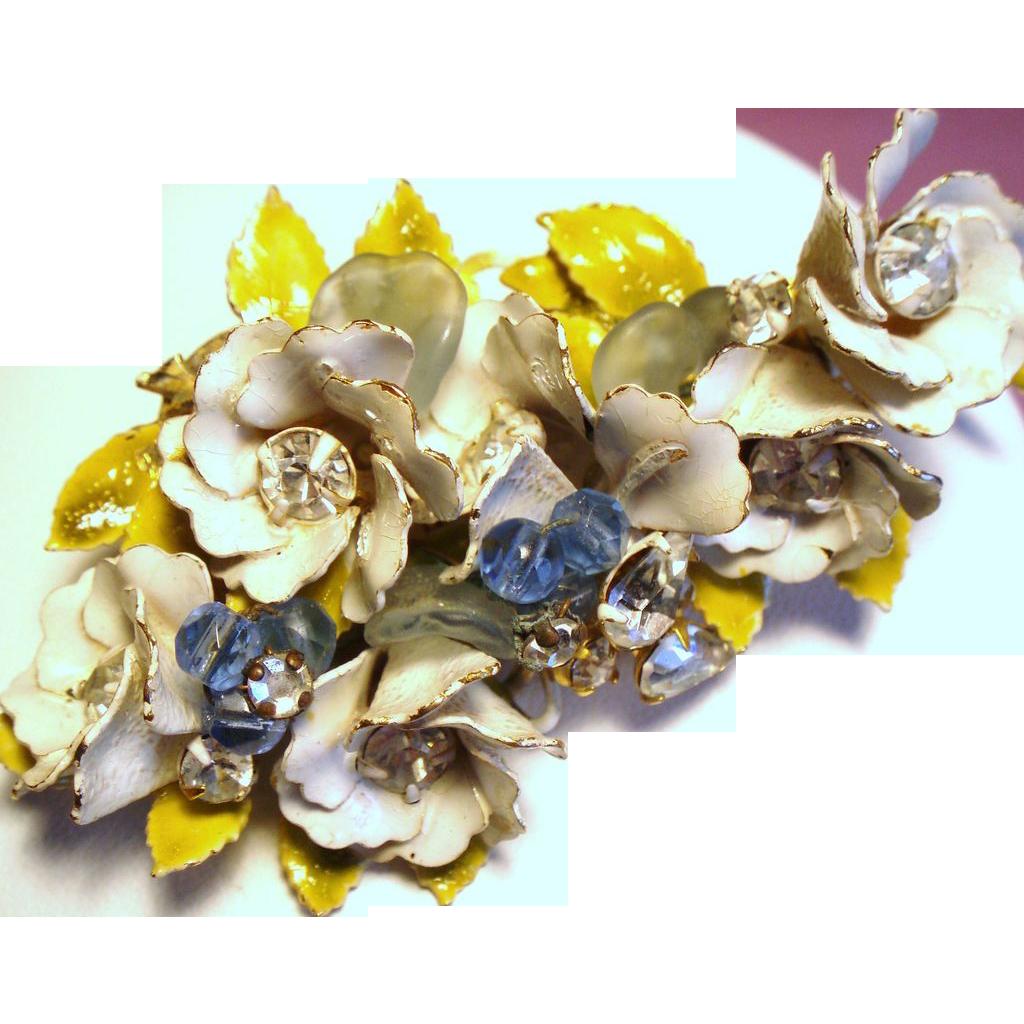 Vintage Original By Robert Enamel Flowers Rhinestones Beads Brooch