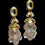 Vintage Schreiner Faceted Crystal and Lucite Briolette Shoulder Duster Earrings