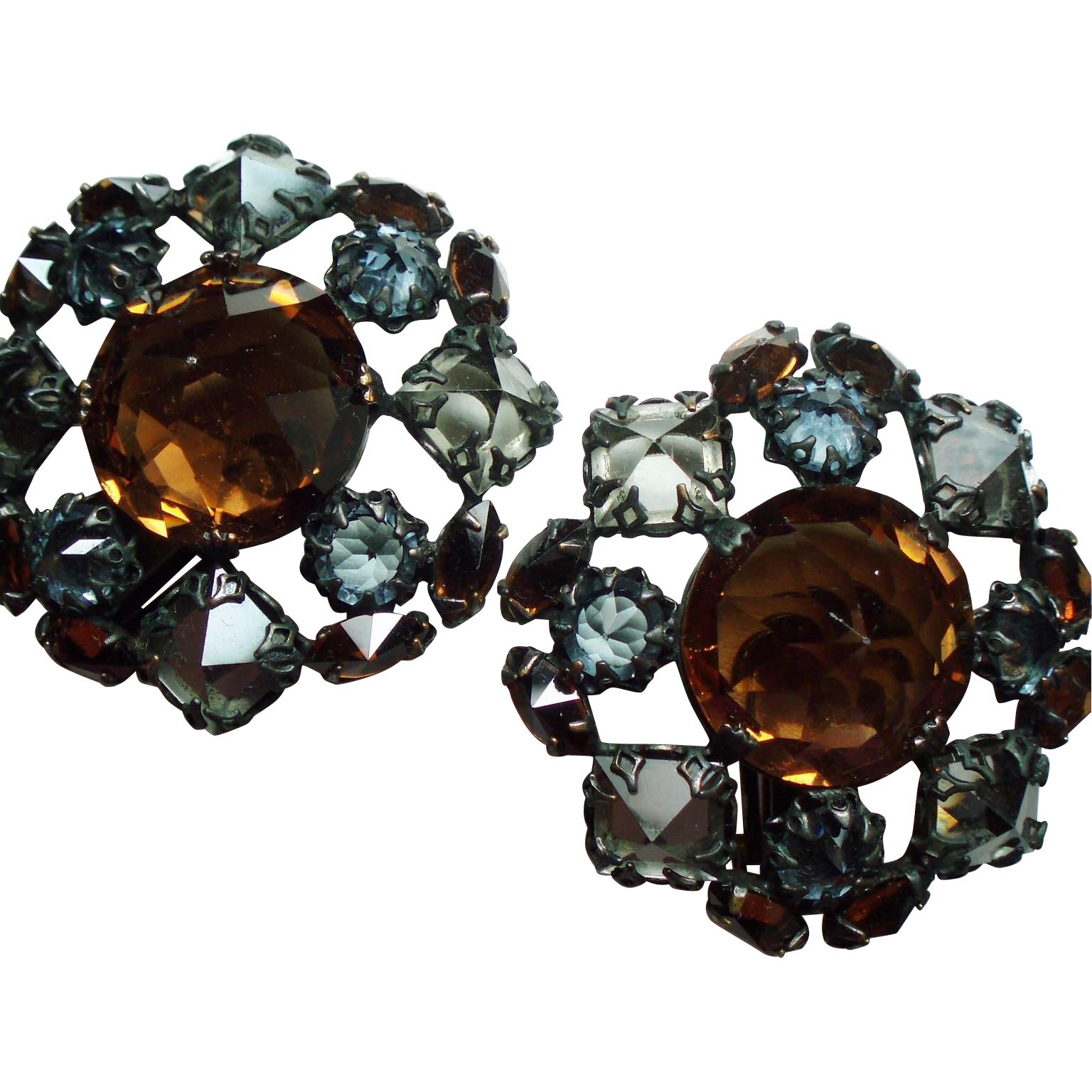 Vintage Unsigned Schreiner Inverted Topaz Smoky Stone Large Earrings