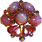 Vintage Unsigned Schreiner Pink Art Glass Rhinestone Brooch