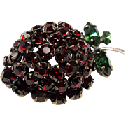 Vintage Unsigned Schreiner Strawberry Red Rhinestone Fruit Brooch