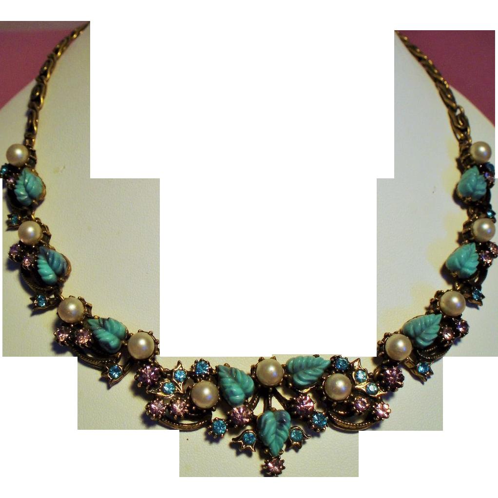 Vintage Florenza Faux Turquoise Molded Leaf Rhinestone Faux Pearls Necklace