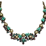 Vintage Florenza Faux Turquoise Molded Leaf Rhinestone Faux Pearls Necklace