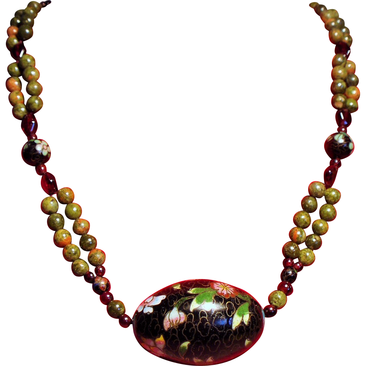 Vintage Unakite Faceted Garnet Bead Cloisonne Pendant Longer Necklace